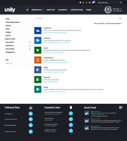 Unily Office 365 apps and tools directory
