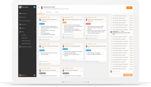 Workteam OKR dashboard screenshot