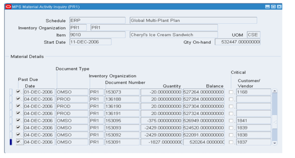 Oracle e-business suite material activity inquiry screenshot
