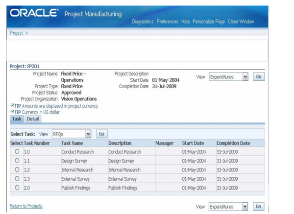 Oracle e-business suite product manufacturing screenshot