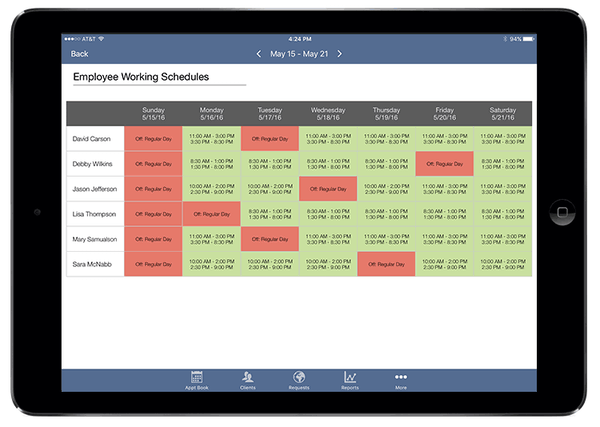 Orchid Medical Spa employee scheduling screenshot