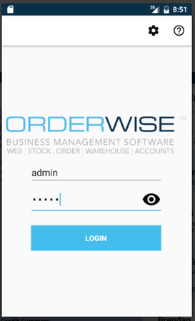OrderWise login page