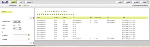 Oreka TR audit trail screenshot