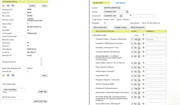 Oreka TR quality scorecards screenshot