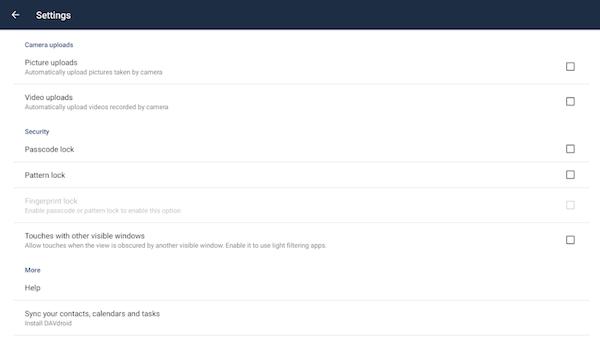 ownCloud settings