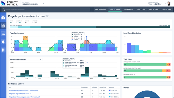 Request Metrics page performance and breakdown