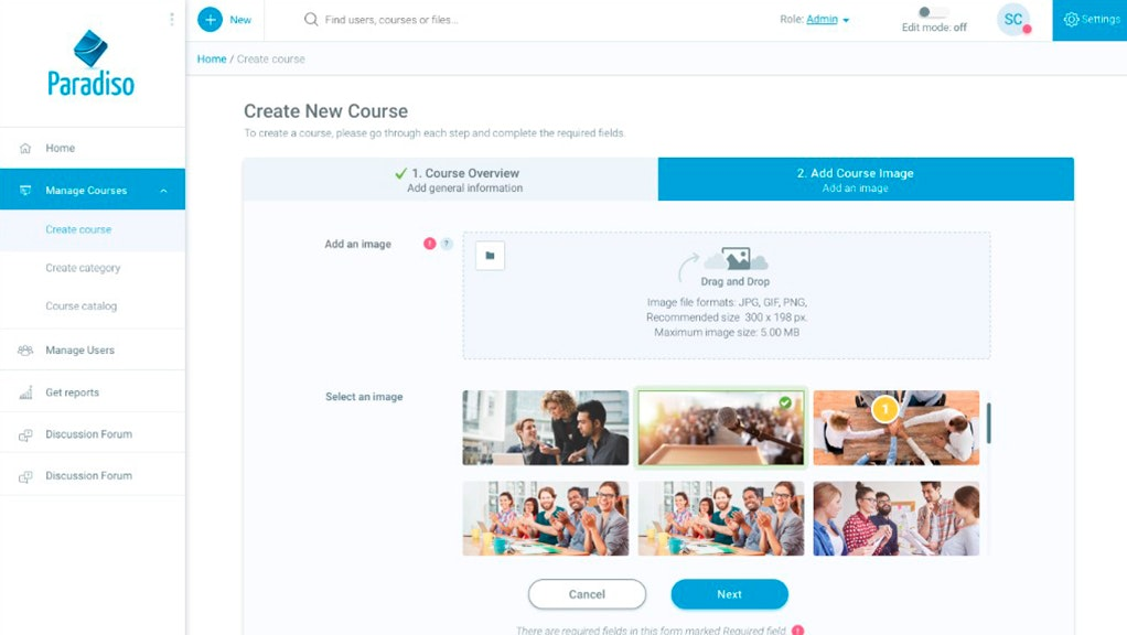 Create new course