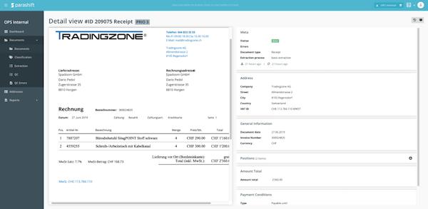 Parashift Document Center dashboard screenshot