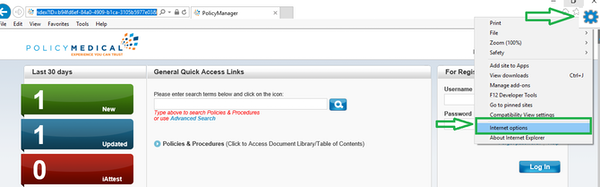 PolicyManager general quick access links screenshot