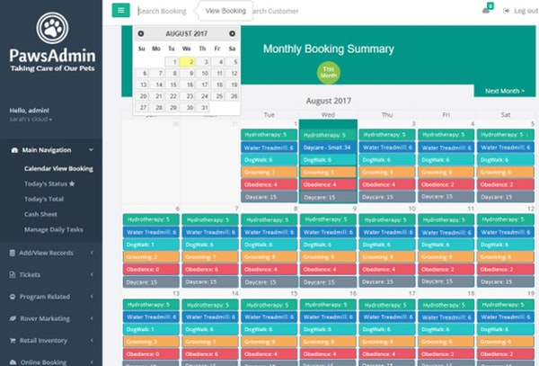 PawsAdmin monthly booking summary
