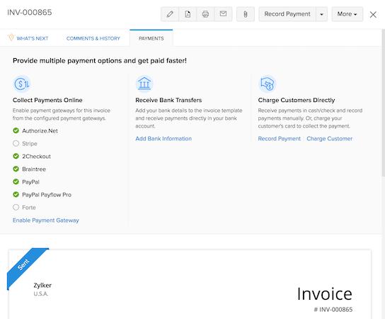 Zoho Invoice payments tab screenshot