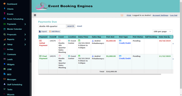 Event Booking Engines payments due