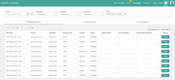 Locate a Locum payments dashboard