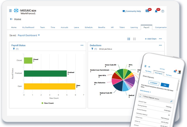 Mosaic HCM payroll management and employee self service