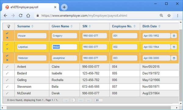 Payroll setup employee screen