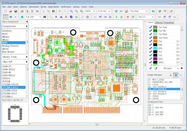 DipTrace PCB layout screen