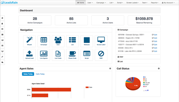 LeadsRain dashboard screenshot