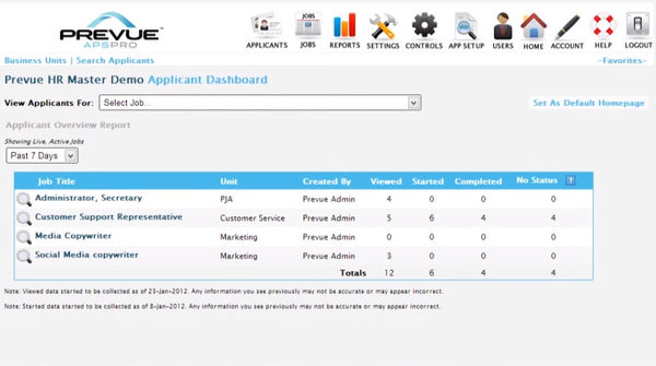 Prevue HR applicant dashboard screenshot