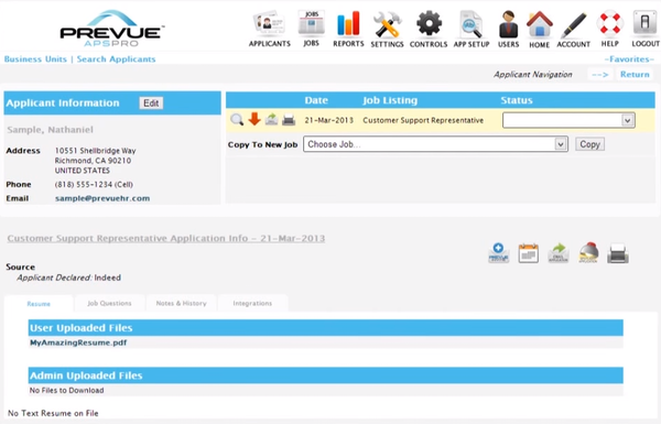 Prevue HR applicant search screenshot