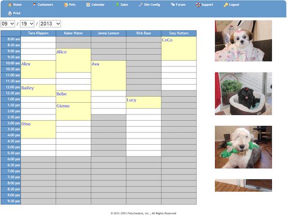 Petschedule.com calendar view