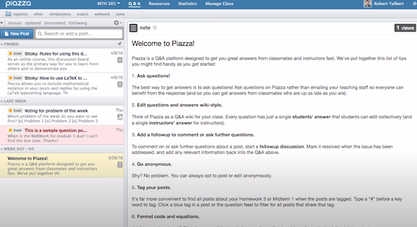 Piazza discussion forum