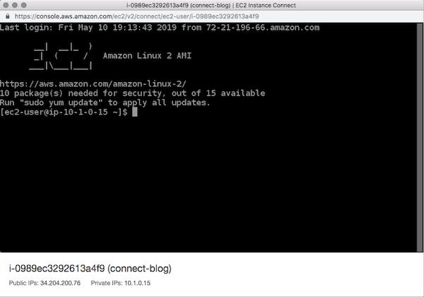 Amazon EC2 instance connect for SSH access