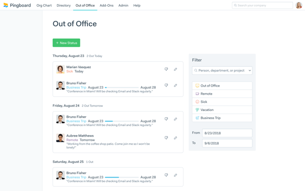 Pingboard out of office