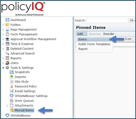 policyIQ pinned items screenshot