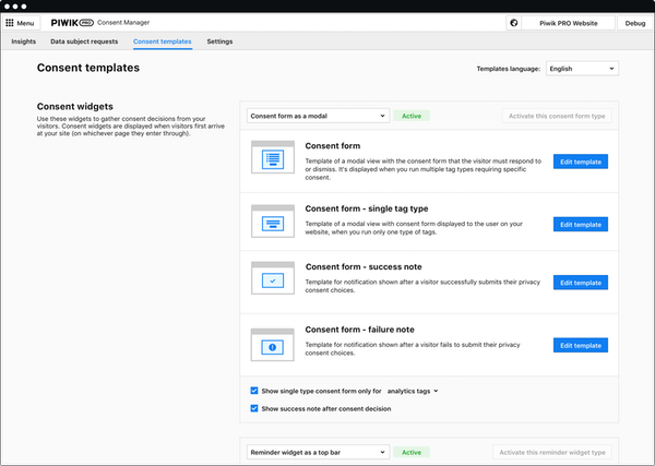 Piwik PRO Consent Manager - Consent templates