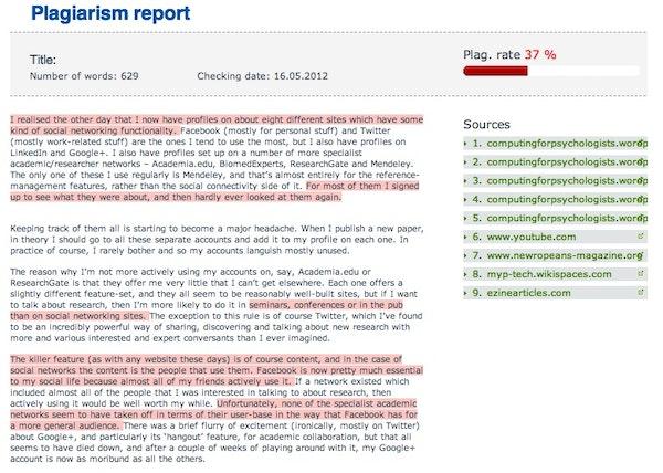 PlagTracker plagiarism detection