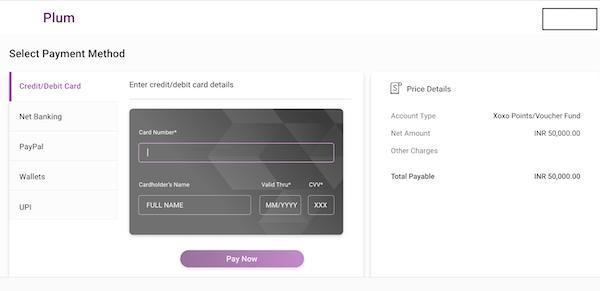 Xoxoday Plum payments