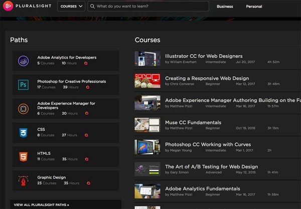 Pluralsight paths and courses