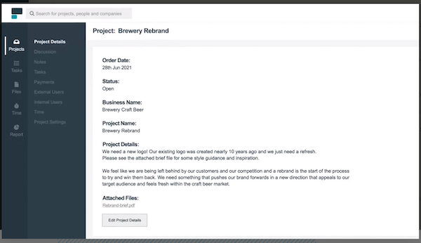 Project.co project details screenshot