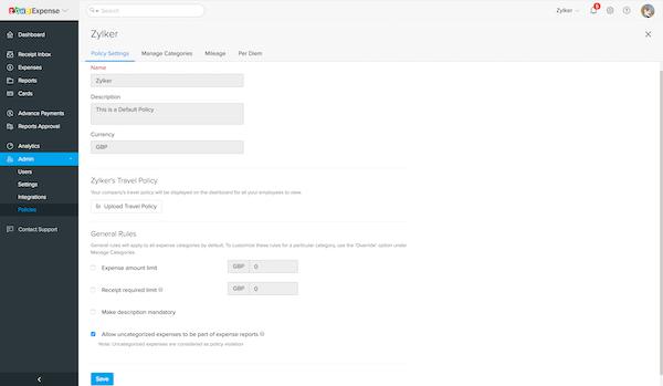 Zoho Expense policy settings screenshot.