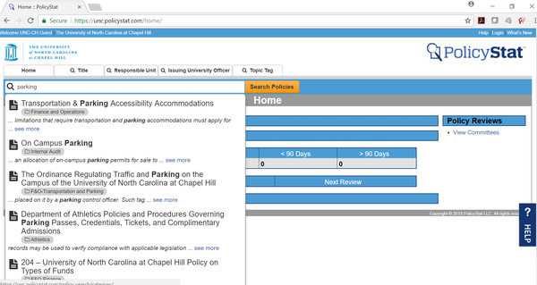 PolicyStat policy search screenshot
