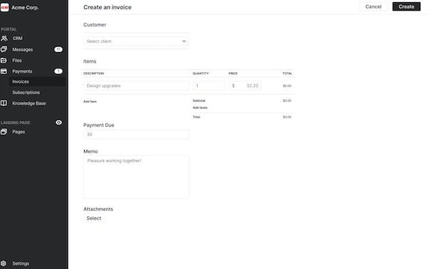 Portal create invoices