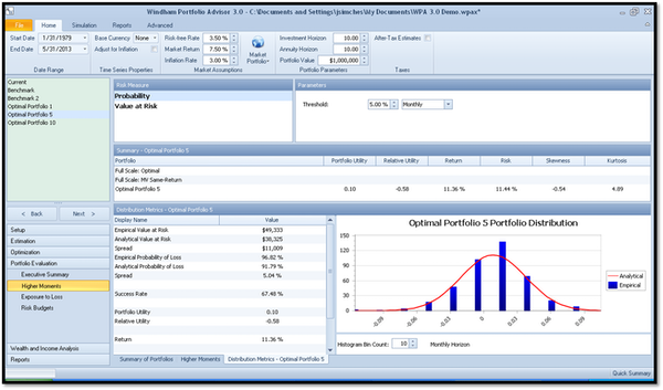Windham Portfolio Advisor portfolio distribution screenshot