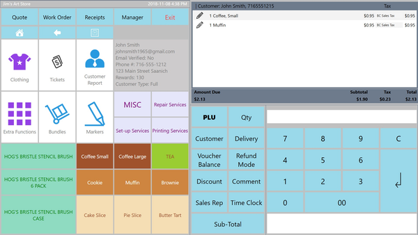 MyPOS Connect POS screen with small window for items sold