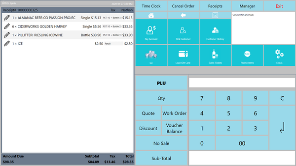 MyPOS Connect POS screen with large window for items sold