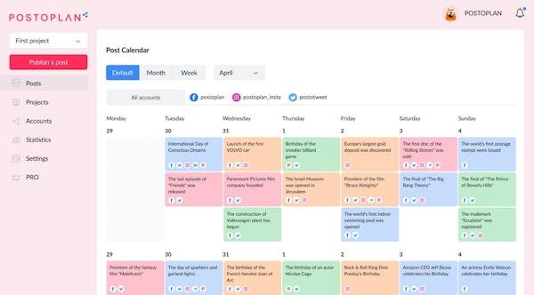 POSTOPLAN post calendar
