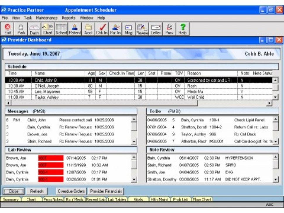 Provider dashboard