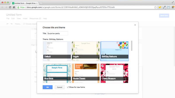 Google Forms predefined themes