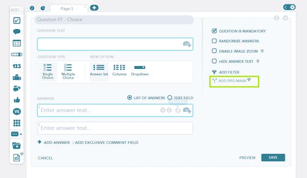 QuickSurveys adding question piping screenshot