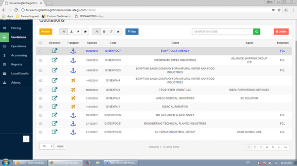 CloudWadi Logistics Software quotation screenshot