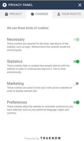 TRUENDO privacy panel cookie screenshot