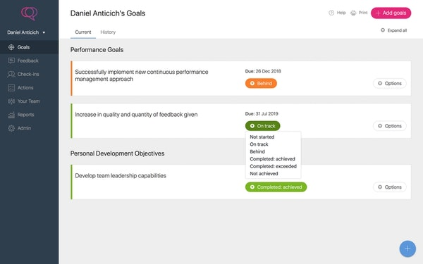 Clear Review agile goals screenshot