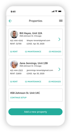 Properties dashboard for all of your rental properties