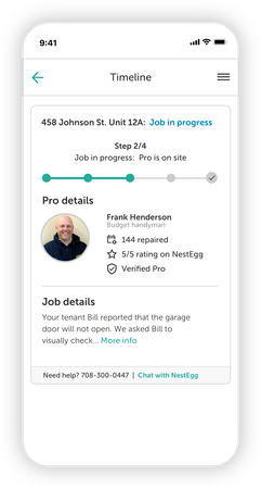 Once ordered, track the status of your maintenance job in the Timeline section