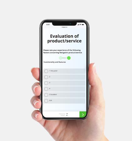Netigate product evaluation survey screenshot