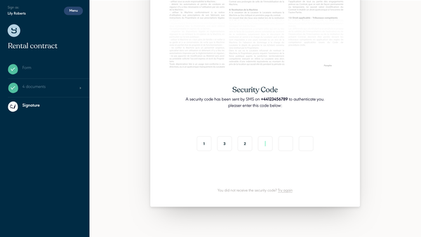Yousign document authentication screenshot